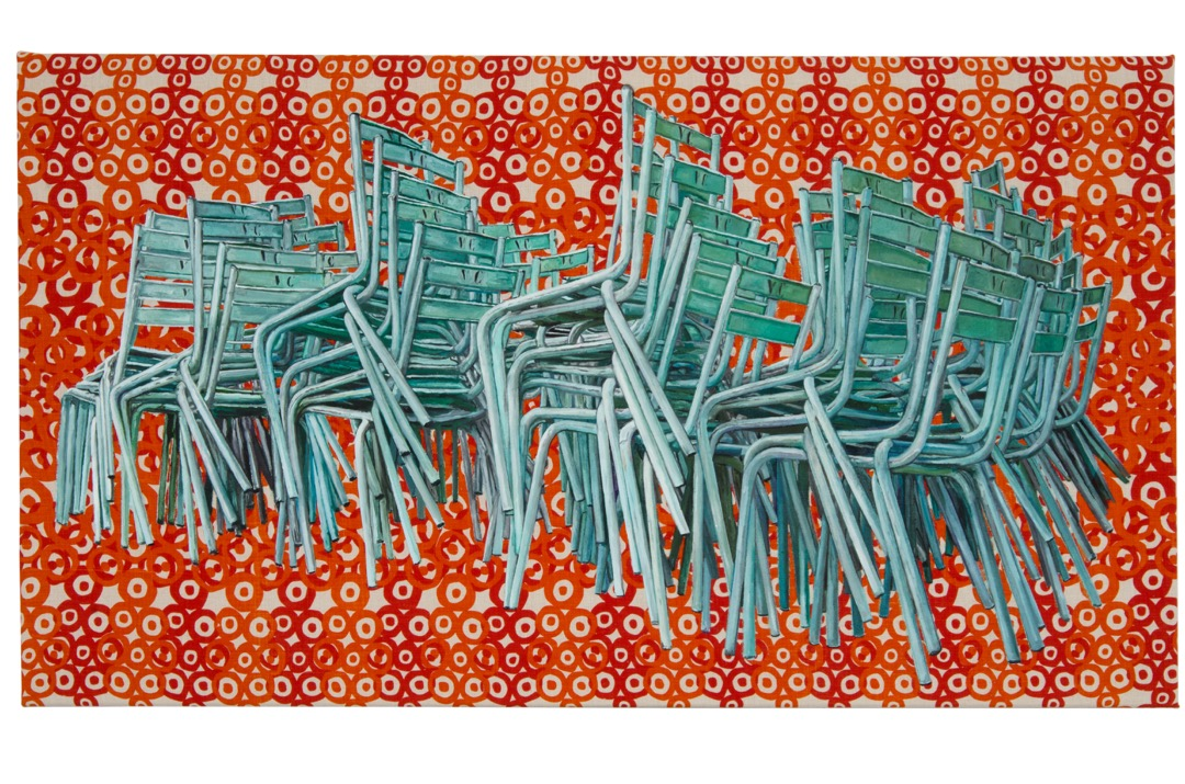 328  Chairmen On The Move 2017 90  X 130cm  Oel Auf Bedrucktem Stoff